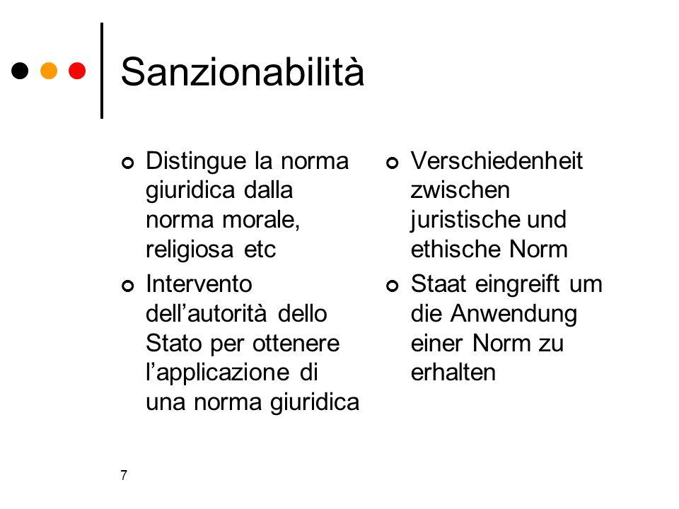 7 Sanzionabilità Distingue la norma giuridica dalla norma morale, religiosa etc Intervento dellautorità dello Stato per ottenere lapplicazione di una