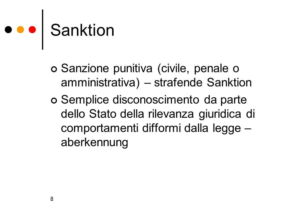 8 Sanktion Sanzione punitiva (civile, penale o amministrativa) – strafende Sanktion Semplice disconoscimento da parte dello Stato della rilevanza giur