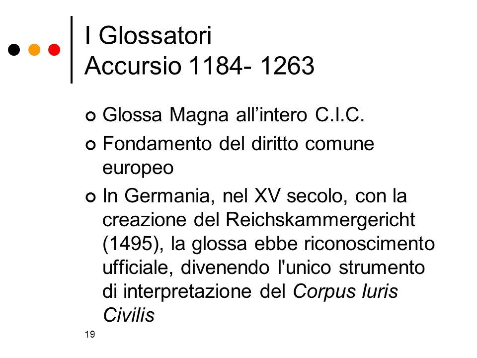 19 I Glossatori Accursio 1184- 1263 Glossa Magna allintero C.I.C. Fondamento del diritto comune europeo In Germania, nel XV secolo, con la creazione d