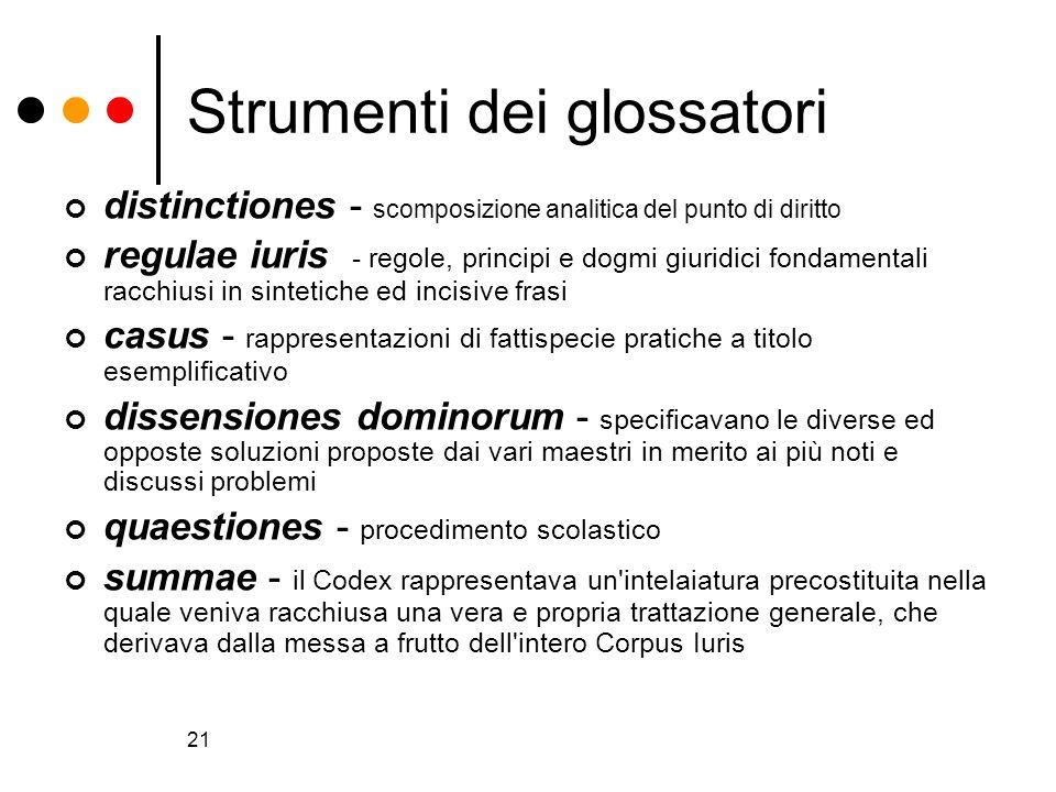 21 Strumenti dei glossatori distinctiones - scomposizione analitica del punto di diritto regulae iuris - regole, principi e dogmi giuridici fondamenta