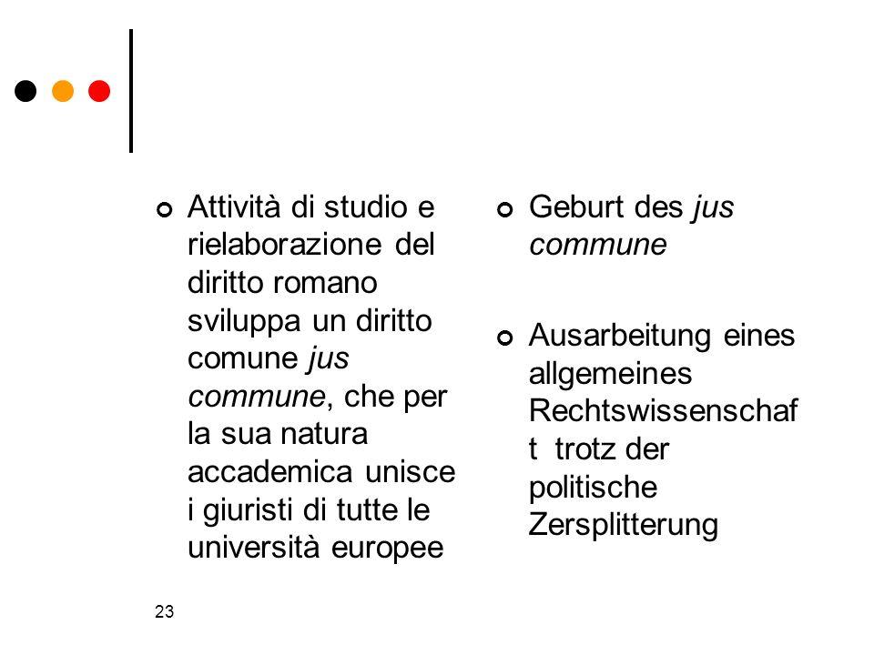 23 Attività di studio e rielaborazione del diritto romano sviluppa un diritto comune jus commune, che per la sua natura accademica unisce i giuristi d