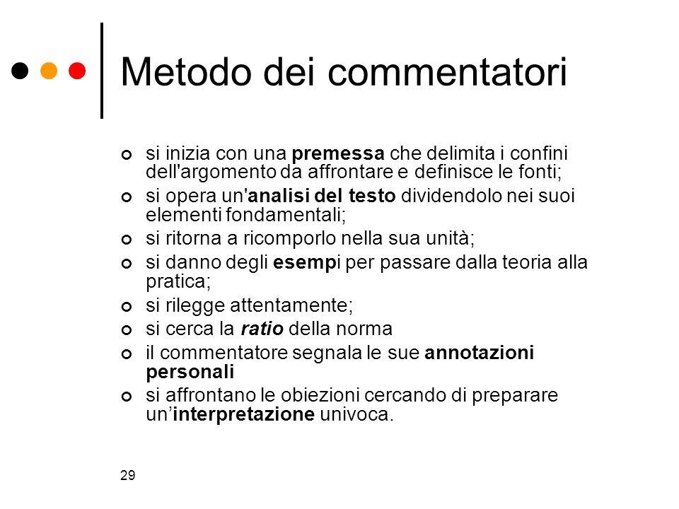 29 Metodo dei commentatori si inizia con una premessa che delimita i confini dell'argomento da affrontare e definisce le fonti; si opera un'analisi de