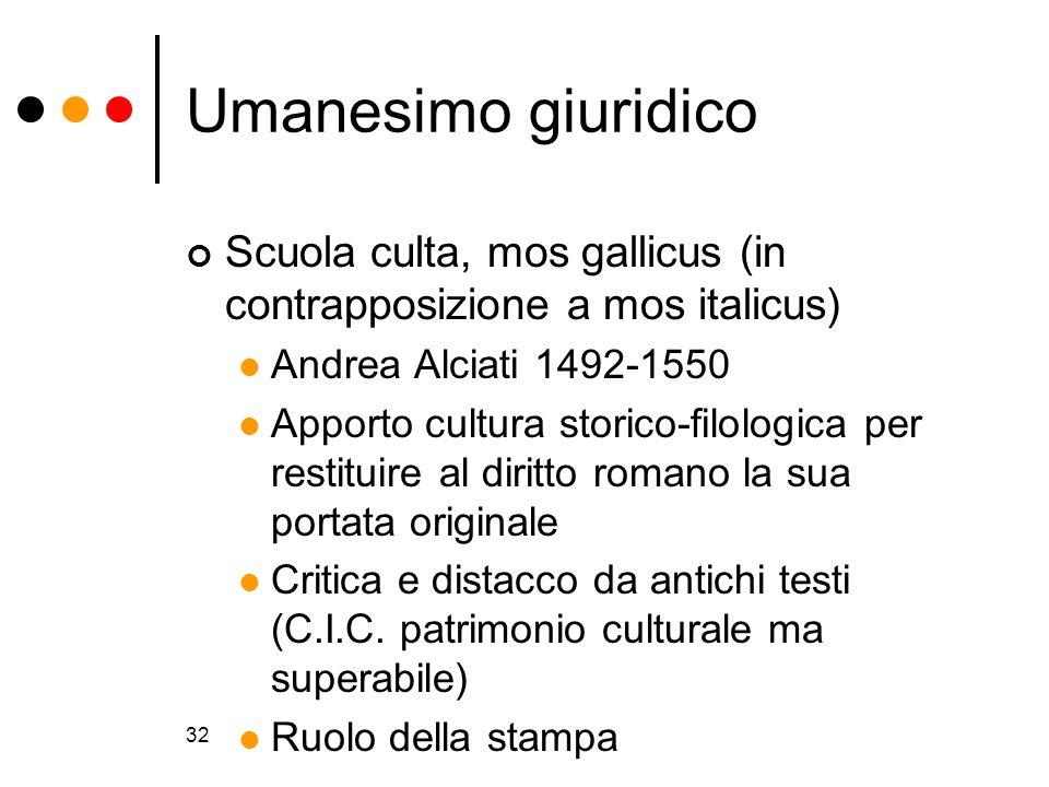32 Umanesimo giuridico Scuola culta, mos gallicus (in contrapposizione a mos italicus) Andrea Alciati 1492-1550 Apporto cultura storico-filologica per