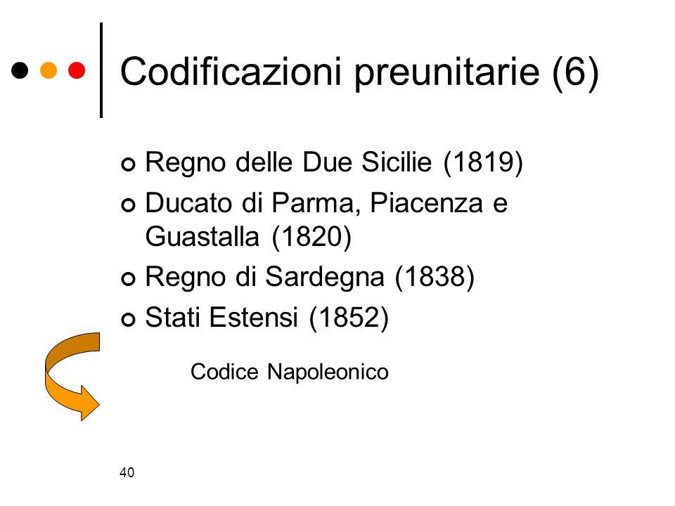 40 Codificazioni preunitarie (6) Regno delle Due Sicilie (1819) Ducato di Parma, Piacenza e Guastalla (1820) Regno di Sardegna (1838) Stati Estensi (1