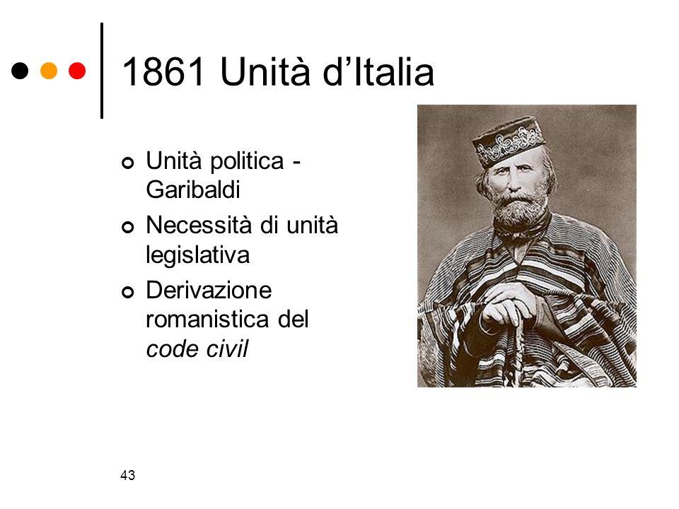 43 1861 Unità dItalia Unità politica - Garibaldi Necessità di unità legislativa Derivazione romanistica del code civil