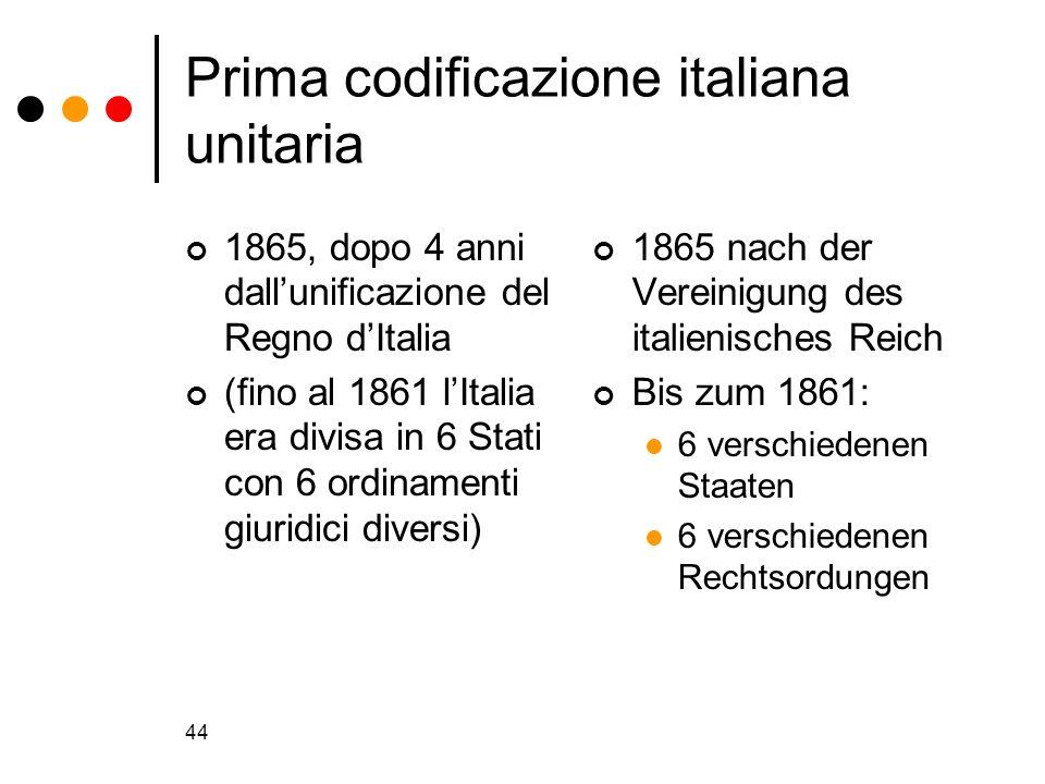 44 Prima codificazione italiana unitaria 1865, dopo 4 anni dallunificazione del Regno dItalia (fino al 1861 lItalia era divisa in 6 Stati con 6 ordina