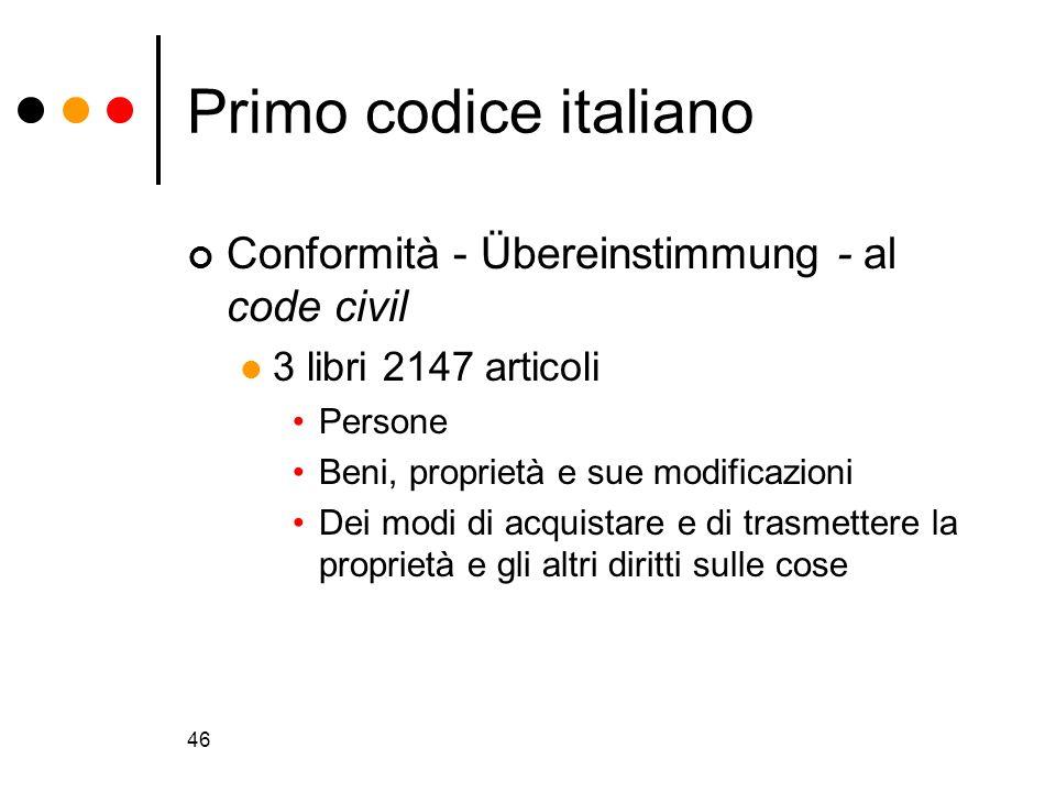 46 Primo codice italiano Conformità - Übereinstimmung - al code civil 3 libri 2147 articoli Persone Beni, proprietà e sue modificazioni Dei modi di ac