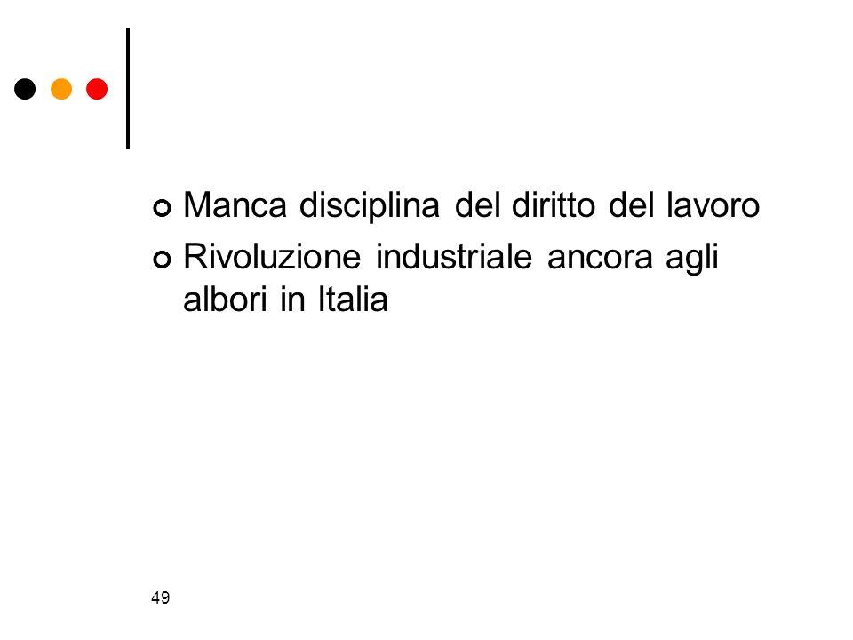 49 Manca disciplina del diritto del lavoro Rivoluzione industriale ancora agli albori in Italia