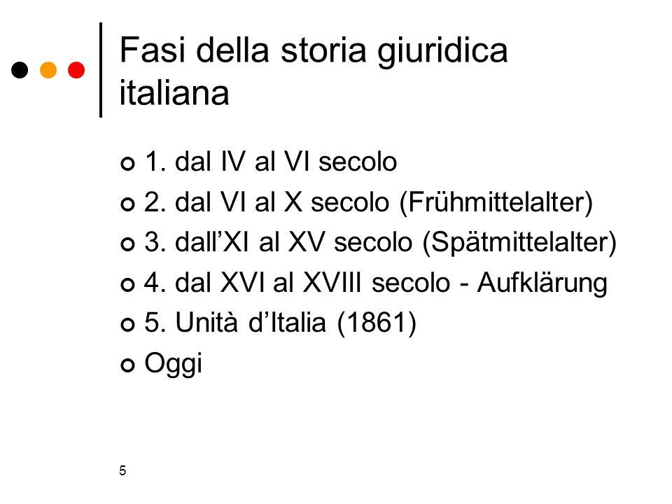 5 Fasi della storia giuridica italiana 1. dal IV al VI secolo 2. dal VI al X secolo (Frühmittelalter) 3. dallXI al XV secolo (Spätmittelalter) 4. dal