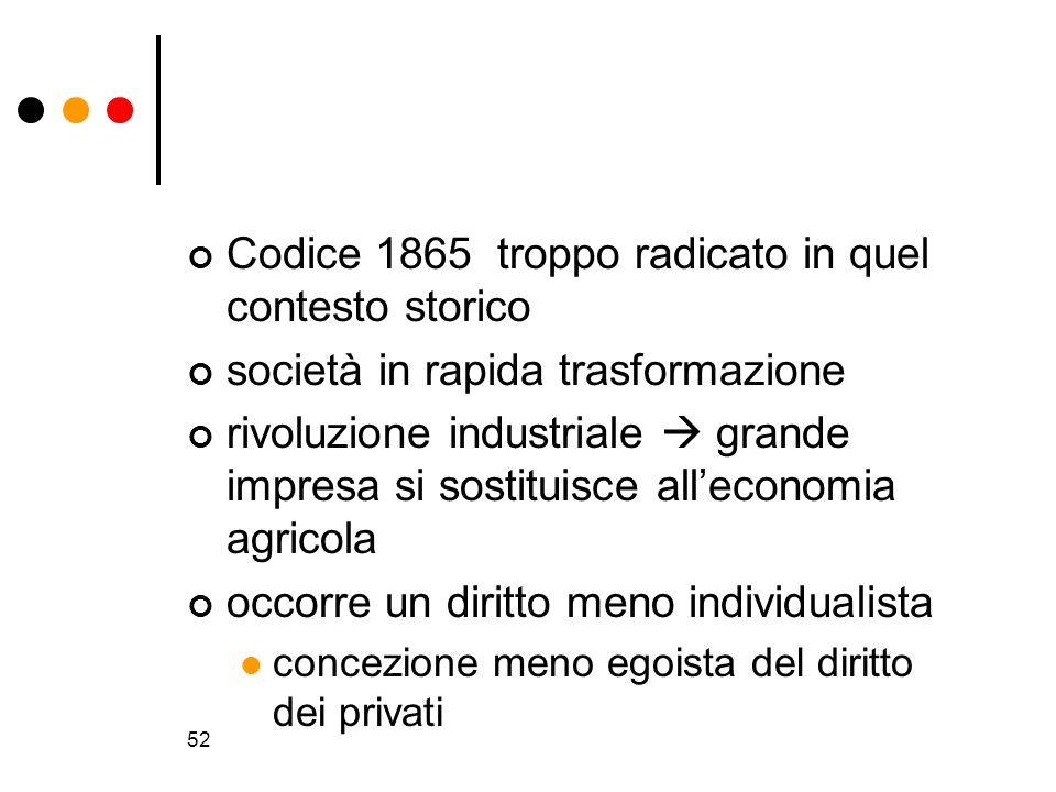 52 Codice 1865 troppo radicato in quel contesto storico società in rapida trasformazione rivoluzione industriale grande impresa si sostituisce allecon