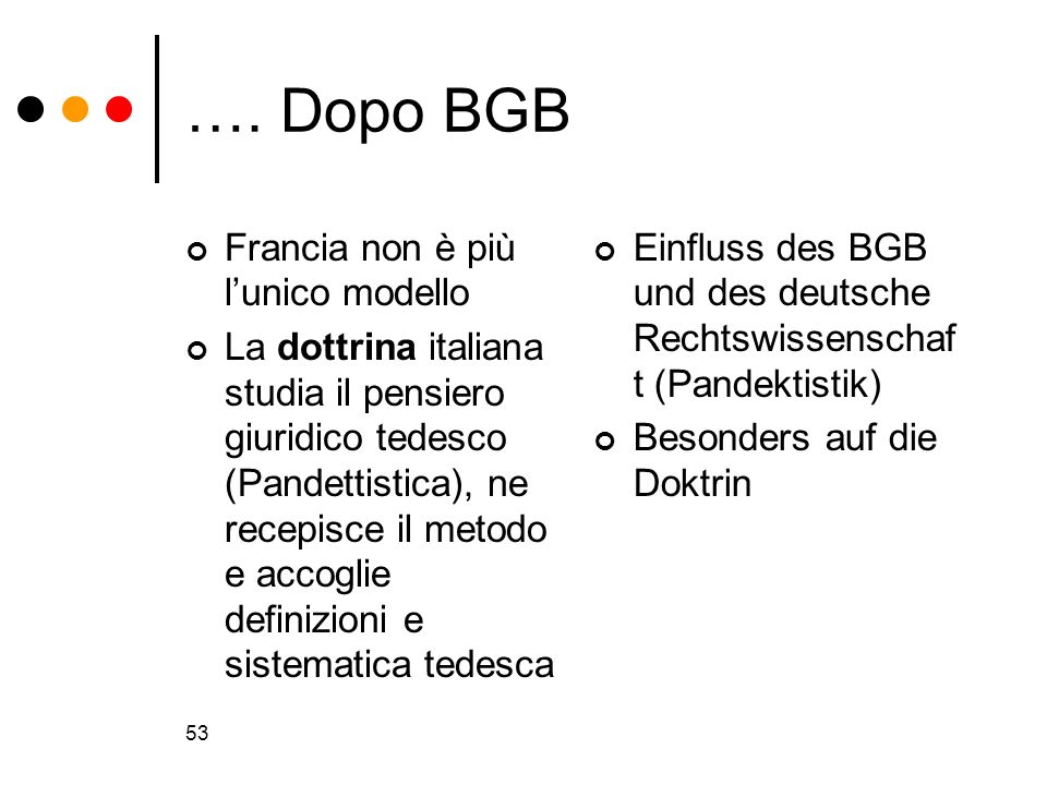 53 …. Dopo BGB Francia non è più lunico modello La dottrina italiana studia il pensiero giuridico tedesco (Pandettistica), ne recepisce il metodo e ac