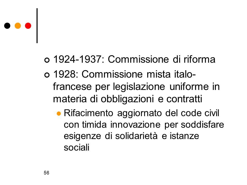 56 1924-1937: Commissione di riforma 1928: Commissione mista italo- francese per legislazione uniforme in materia di obbligazioni e contratti Rifacime
