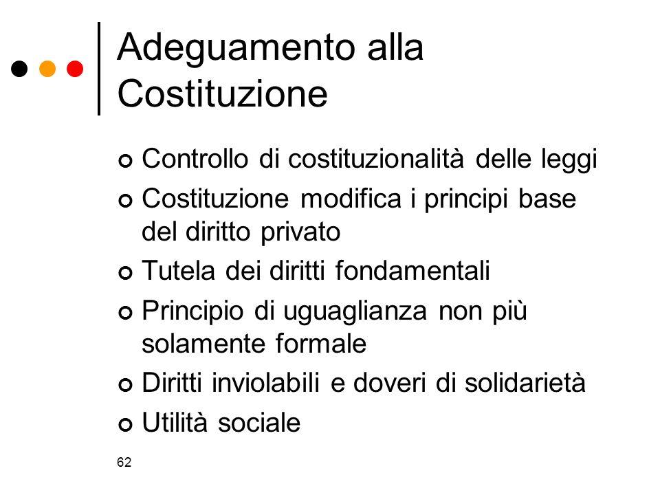 62 Adeguamento alla Costituzione Controllo di costituzionalità delle leggi Costituzione modifica i principi base del diritto privato Tutela dei diritt