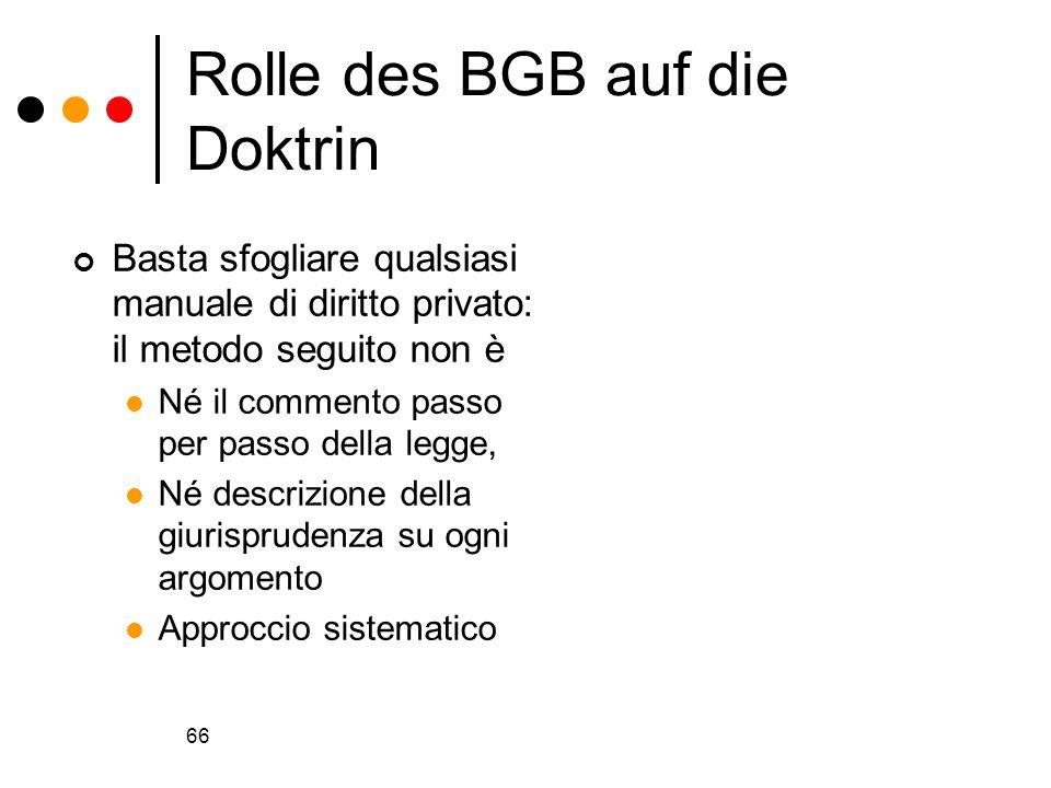 66 Rolle des BGB auf die Doktrin Basta sfogliare qualsiasi manuale di diritto privato: il metodo seguito non è Né il commento passo per passo della le