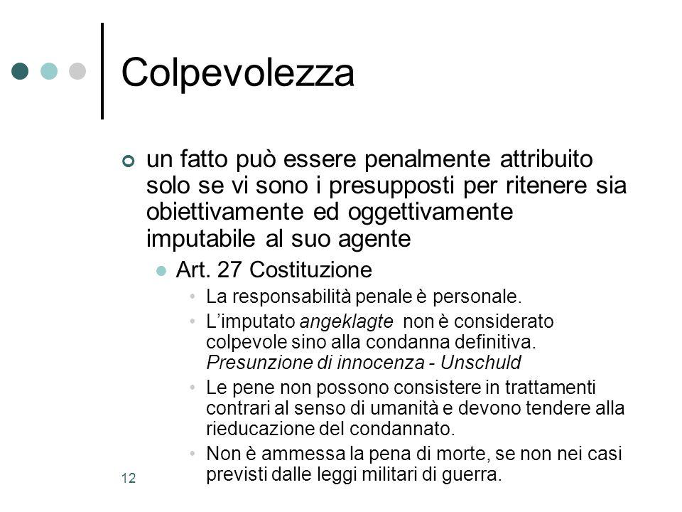 12 Colpevolezza un fatto può essere penalmente attribuito solo se vi sono i presupposti per ritenere sia obiettivamente ed oggettivamente imputabile al suo agente Art.