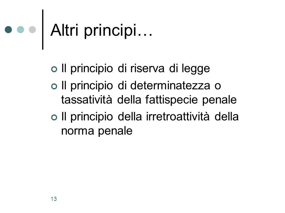 13 Altri principi… Il principio di riserva di legge Il principio di determinatezza o tassatività della fattispecie penale Il principio della irretroat