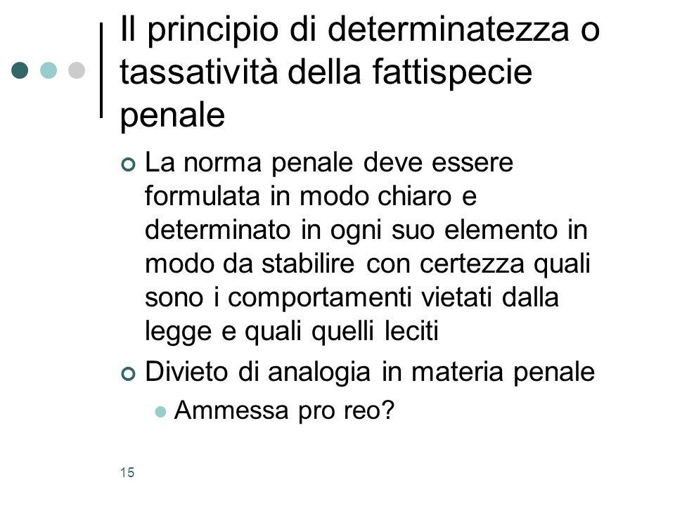 15 Il principio di determinatezza o tassatività della fattispecie penale La norma penale deve essere formulata in modo chiaro e determinato in ogni su