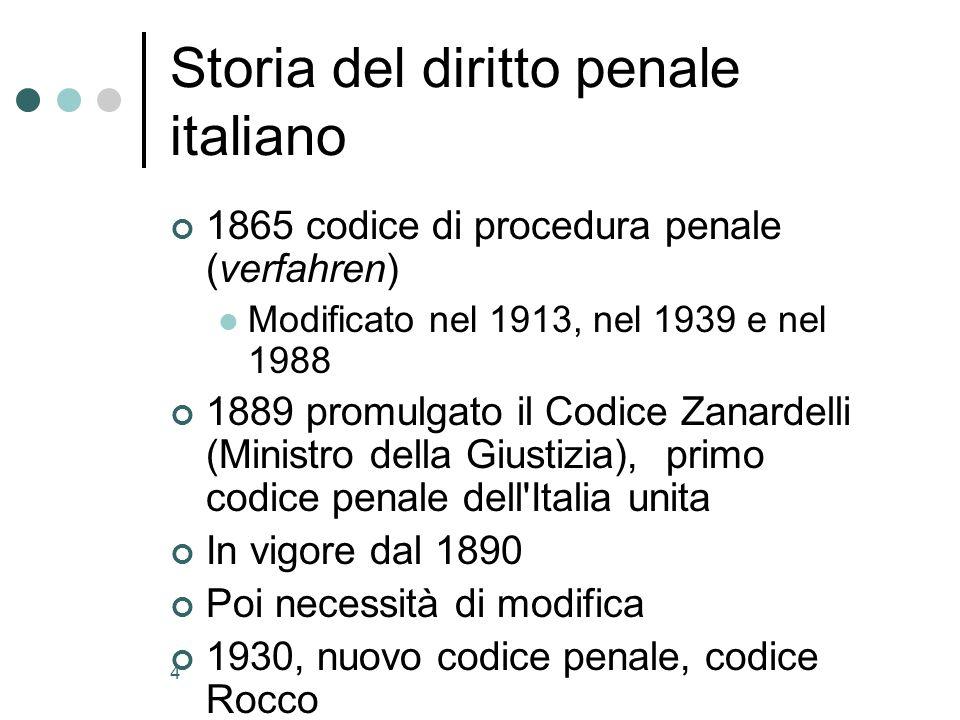 4 Storia del diritto penale italiano 1865 codice di procedura penale (verfahren) Modificato nel 1913, nel 1939 e nel 1988 1889 promulgato il Codice Zanardelli (Ministro della Giustizia), primo codice penale dell Italia unita In vigore dal 1890 Poi necessità di modifica 1930, nuovo codice penale, codice Rocco