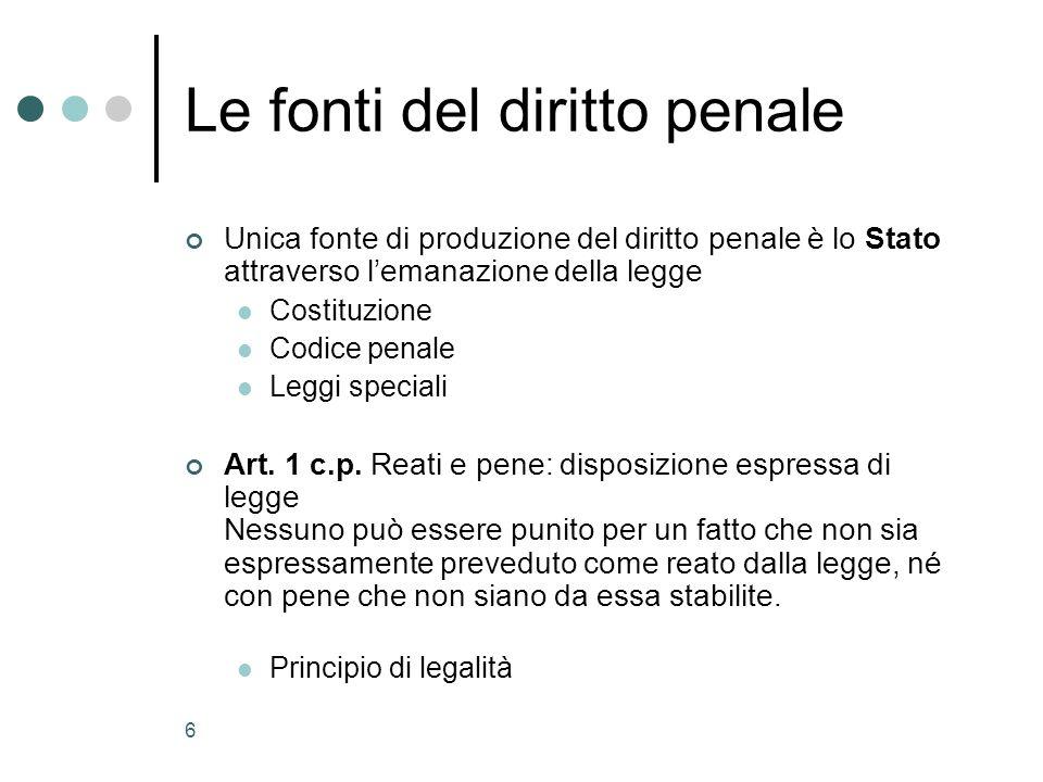 6 Le fonti del diritto penale Unica fonte di produzione del diritto penale è lo Stato attraverso lemanazione della legge Costituzione Codice penale Leggi speciali Art.