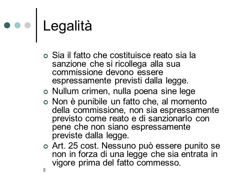 8 Legalità Sia il fatto che costituisce reato sia la sanzione che si ricollega alla sua commissione devono essere espressamente previsti dalla legge.