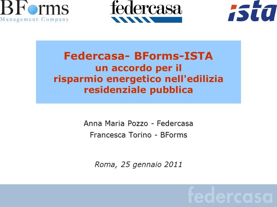 Federcasa- BForms-ISTA un accordo per il risparmio energetico nell'edilizia residenziale pubblica Anna Maria Pozzo - Federcasa Francesca Torino - BFor