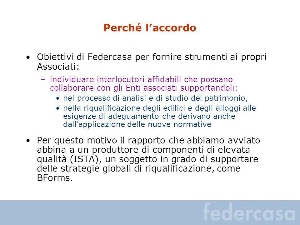 Perché laccordo Obiettivi di Federcasa per fornire strumenti ai propri Associati: –individuare interlocutori affidabili che possano collaborare con gl
