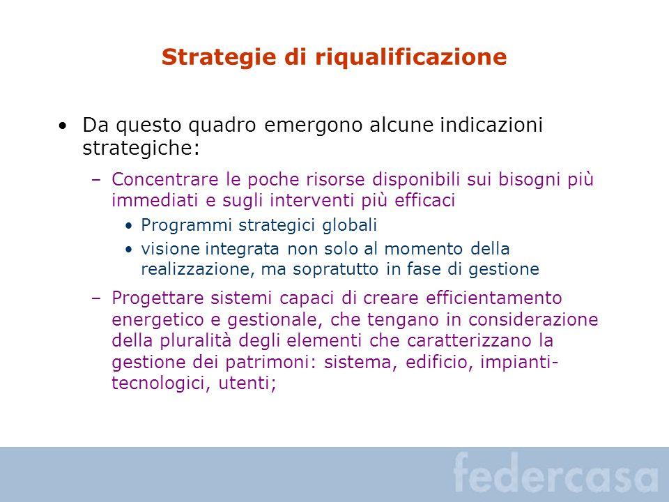 Strategie di riqualificazione Da questo quadro emergono alcune indicazioni strategiche: –Concentrare le poche risorse disponibili sui bisogni più imme