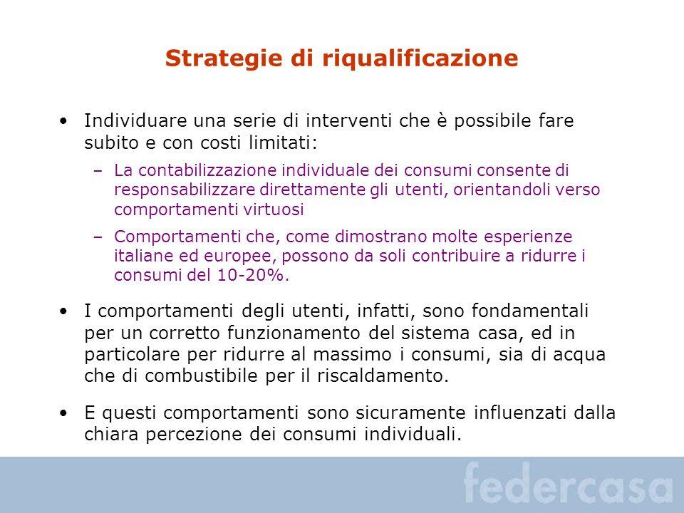 Strategie di riqualificazione Individuare una serie di interventi che è possibile fare subito e con costi limitati: –La contabilizzazione individuale