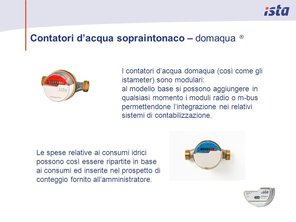 Contatori dacqua sopraintonaco – domaqua ® I contatori dacqua domaqua (così come gli istameter) sono modulari: al modello base si possono aggiungere i