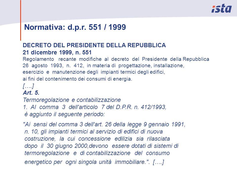 Normativa: d.p.r. 551 / 1999 DECRETO DEL PRESIDENTE DELLA REPUBBLICA 21 dicembre 1999, n. 551 Regolamento recante modifiche al decreto del Presidente