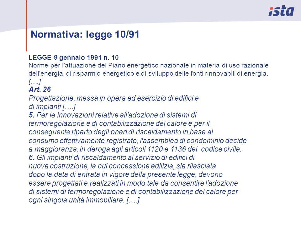Normativa: legge 10/91 LEGGE 9 gennaio 1991 n. 10 Norme per l'attuazione del Piano energetico nazionale in materia di uso razionale dell'energia, di r