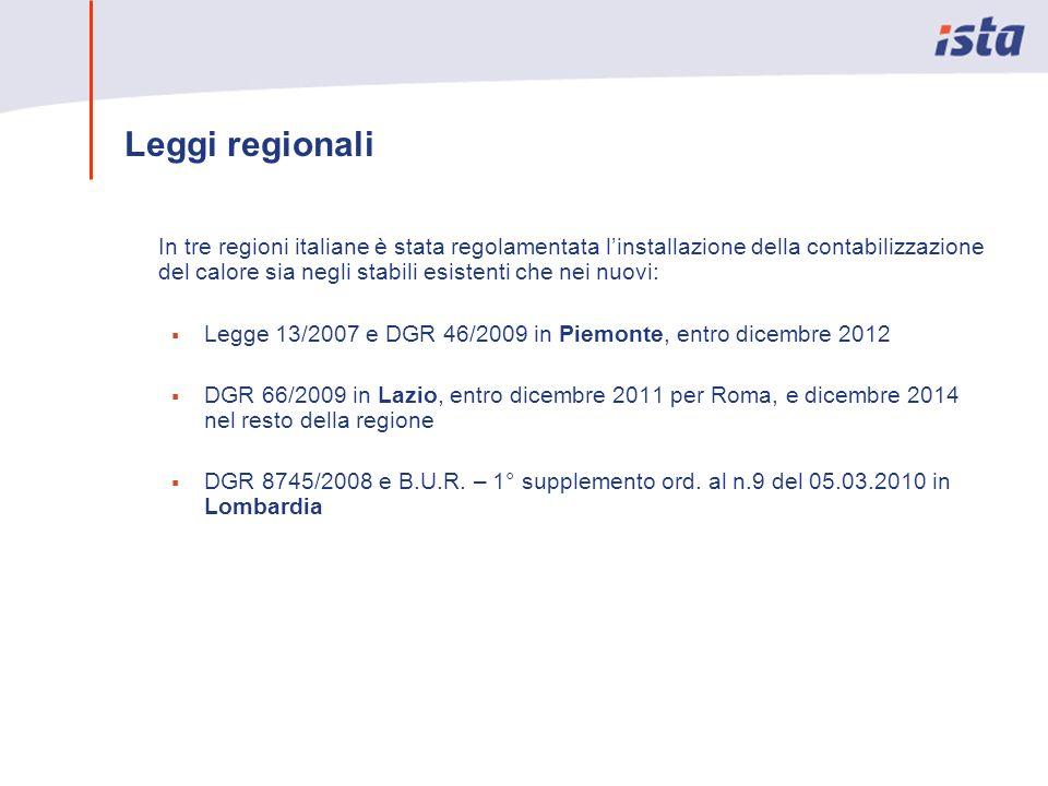 In tre regioni italiane è stata regolamentata linstallazione della contabilizzazione del calore sia negli stabili esistenti che nei nuovi: Legge 13/20