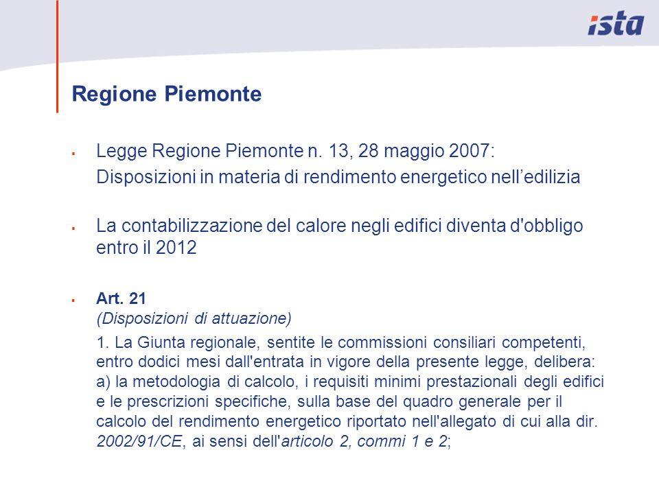 Regione Piemonte Legge Regione Piemonte n. 13, 28 maggio 2007: Disposizioni in materia di rendimento energetico nelledilizia La contabilizzazione del