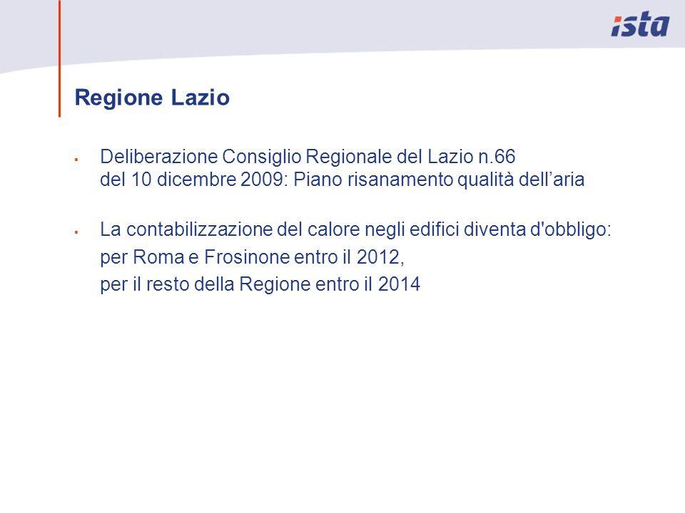 Regione Lazio Deliberazione Consiglio Regionale del Lazio n.66 del 10 dicembre 2009: Piano risanamento qualità dellaria La contabilizzazione del calor