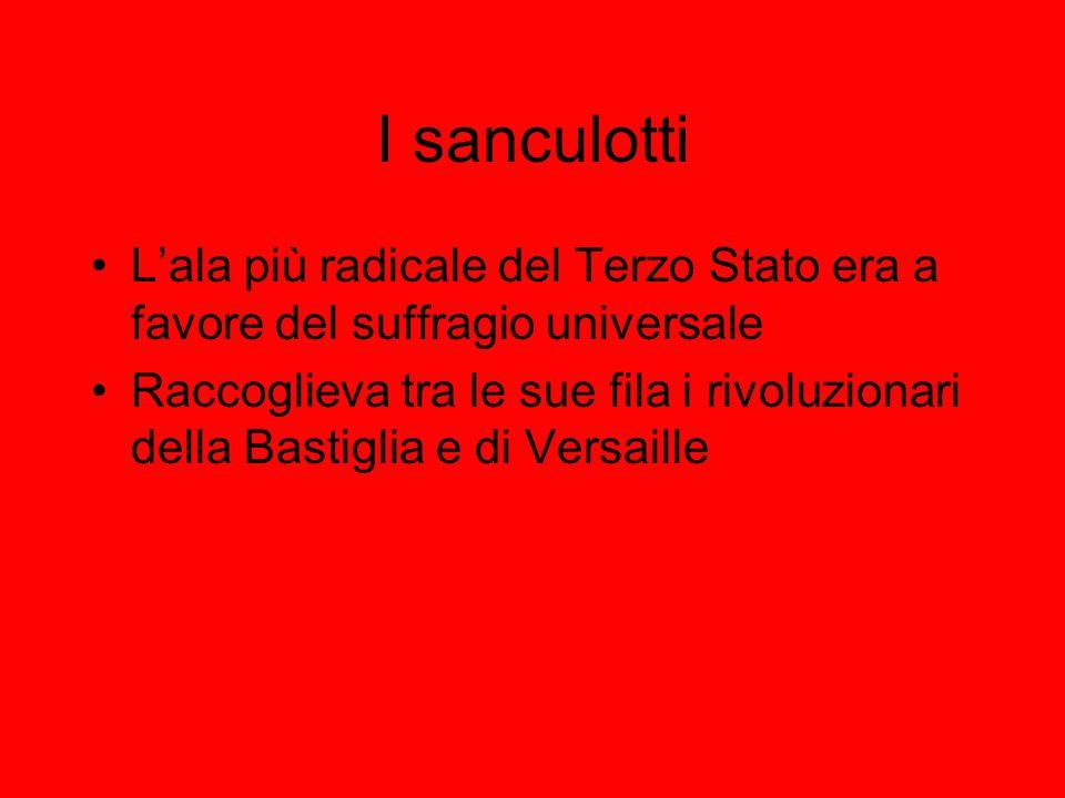 I sanculotti Lala più radicale del Terzo Stato era a favore del suffragio universale Raccoglieva tra le sue fila i rivoluzionari della Bastiglia e di Versaille