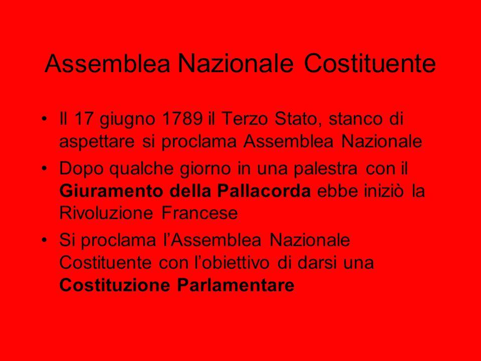 Assemblea Nazionale Costituente Il 17 giugno 1789 il Terzo Stato, stanco di aspettare si proclama Assemblea Nazionale Dopo qualche giorno in una palestra con il Giuramento della Pallacorda ebbe iniziò la Rivoluzione Francese Si proclama lAssemblea Nazionale Costituente con lobiettivo di darsi una Costituzione Parlamentare