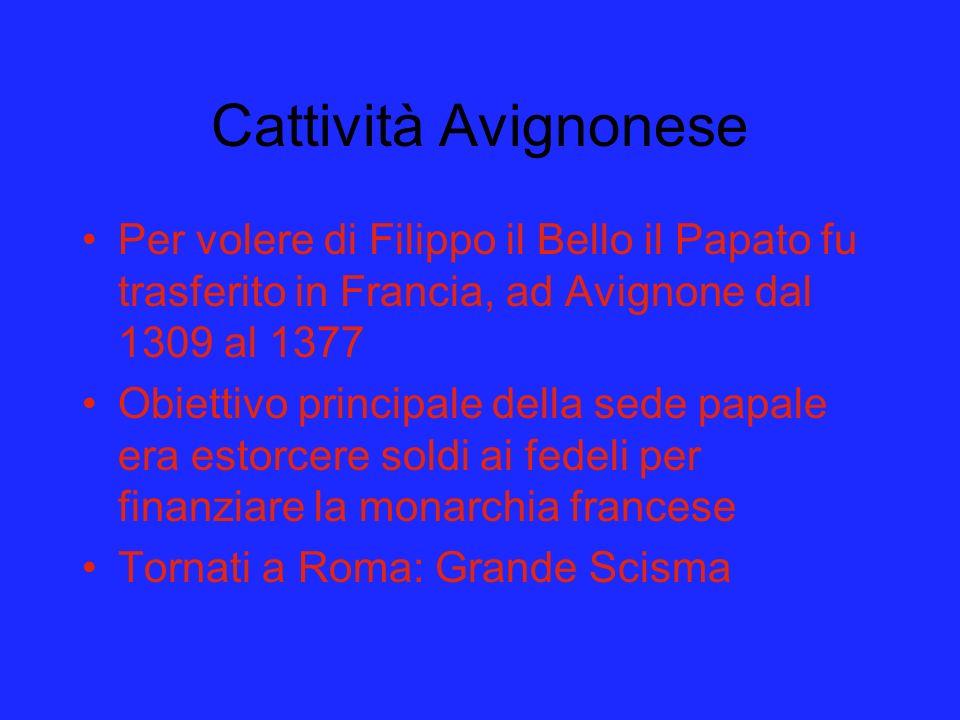 Cattività Avignonese Per volere di Filippo il Bello il Papato fu trasferito in Francia, ad Avignone dal 1309 al 1377 Obiettivo principale della sede p