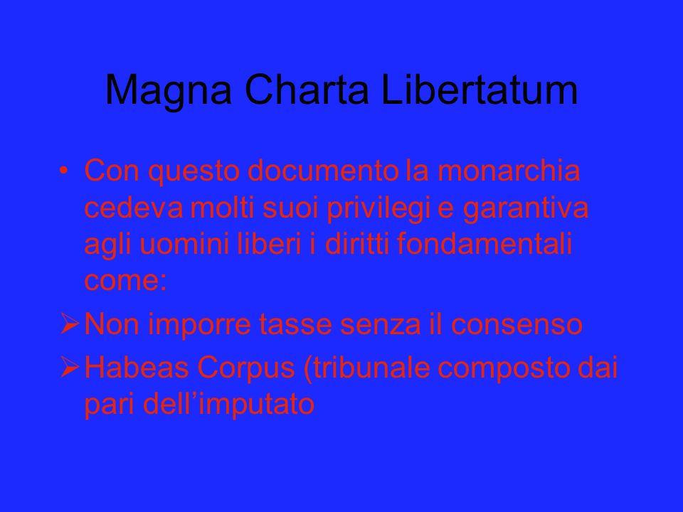 Magna Charta Libertatum Con questo documento la monarchia cedeva molti suoi privilegi e garantiva agli uomini liberi i diritti fondamentali come: Non