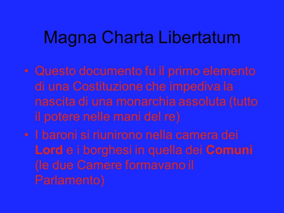Magna Charta Libertatum Questo documento fu il primo elemento di una Costituzione che impediva la nascita di una monarchia assoluta (tutto il potere n