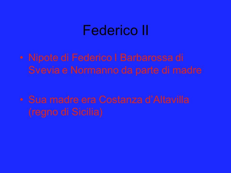 Federico II Nipote di Federico I Barbarossa di Svevia e Normanno da parte di madre Sua madre era Costanza dAltavilla (regno di Sicilia)