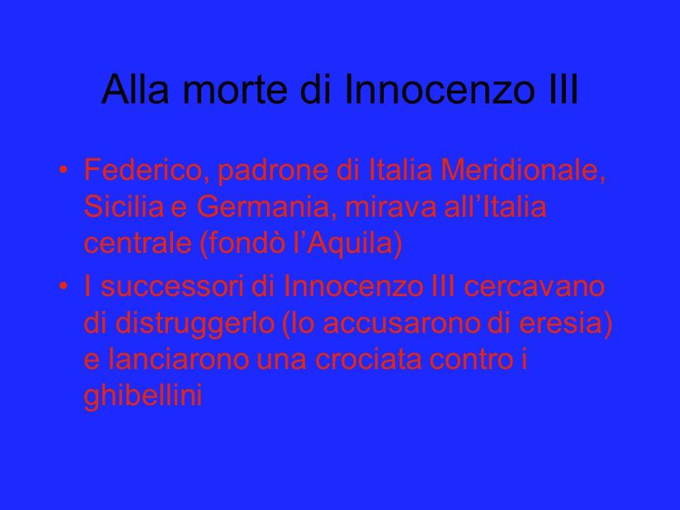 Alla morte di Innocenzo III Federico, padrone di Italia Meridionale, Sicilia e Germania, mirava allItalia centrale (fondò lAquila) I successori di Inn