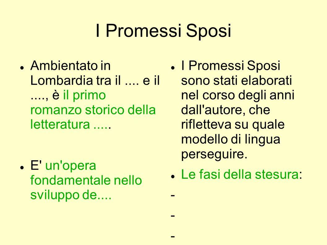 I Promessi Sposi Ambientato in Lombardia tra il.... e il...., è il primo romanzo storico della letteratura..... E' un'opera fondamentale nello svilupp