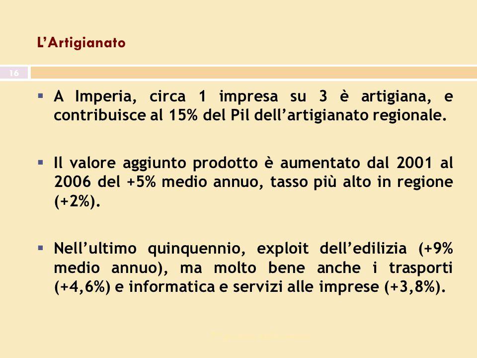 7^ giornata dell economia 16 LArtigianato A Imperia, circa 1 impresa su 3 è artigiana, e contribuisce al 15% del Pil dellartigianato regionale.