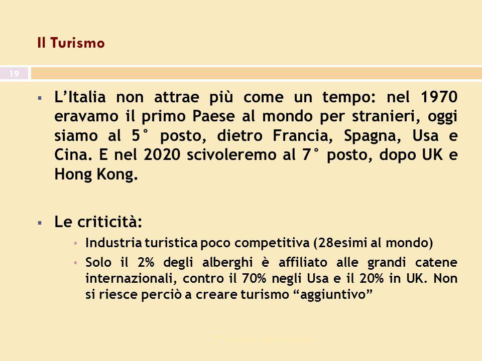 7^ giornata dell economia 19 Il Turismo LItalia non attrae più come un tempo: nel 1970 eravamo il primo Paese al mondo per stranieri, oggi siamo al 5° posto, dietro Francia, Spagna, Usa e Cina.