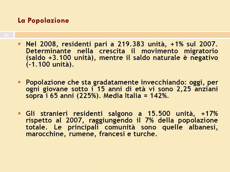 7^ giornata dell economia 21 La Popolazione Nel 2008, residenti pari a 219.383 unità, +1% sul 2007.