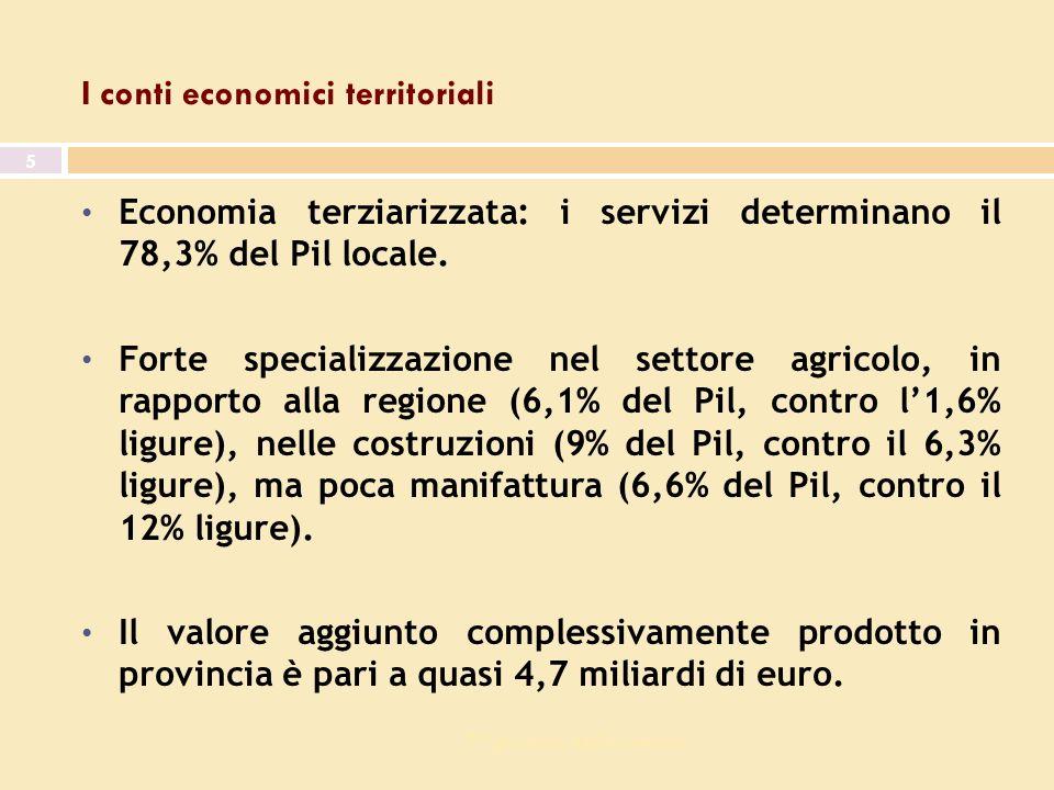 7^ giornata dell economia 5 I conti economici territoriali Economia terziarizzata: i servizi determinano il 78,3% del Pil locale.