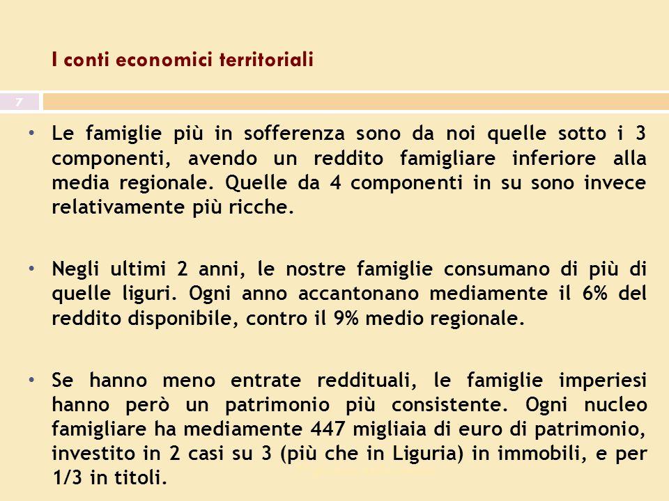 7^ giornata dell economia 7 I conti economici territoriali Le famiglie più in sofferenza sono da noi quelle sotto i 3 componenti, avendo un reddito famigliare inferiore alla media regionale.