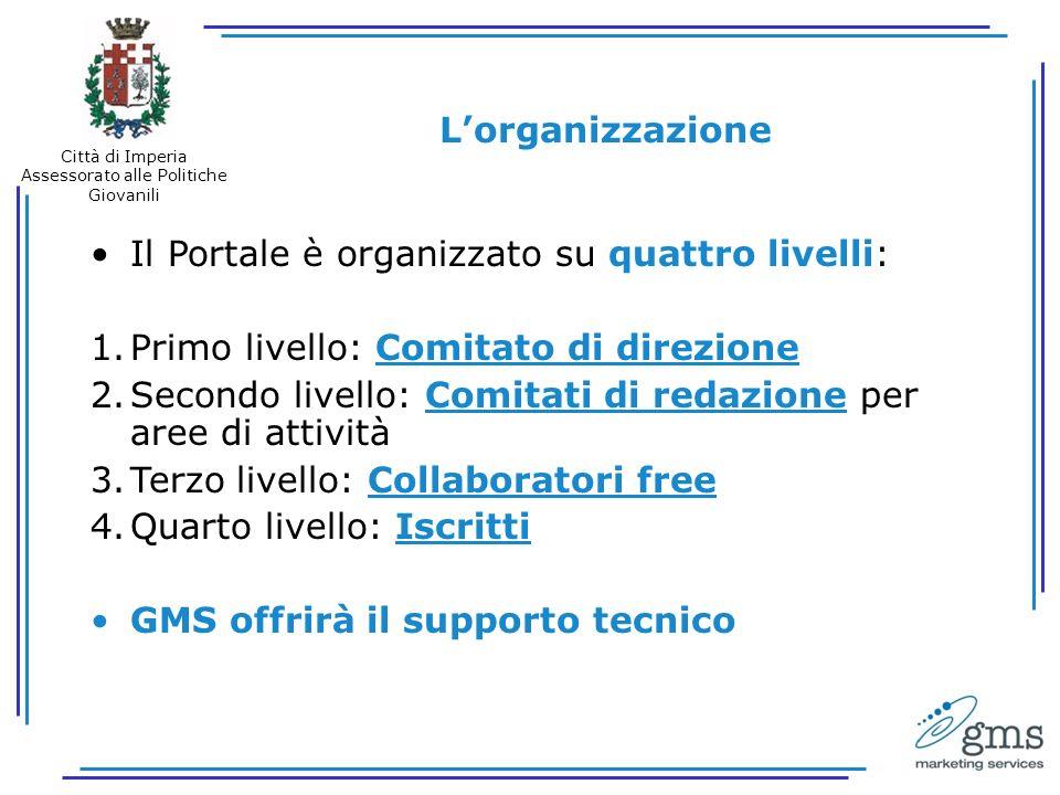 Lorganizzazione Il Portale è organizzato su quattro livelli: 1.Primo livello: Comitato di direzione 2.Secondo livello: Comitati di redazione per aree