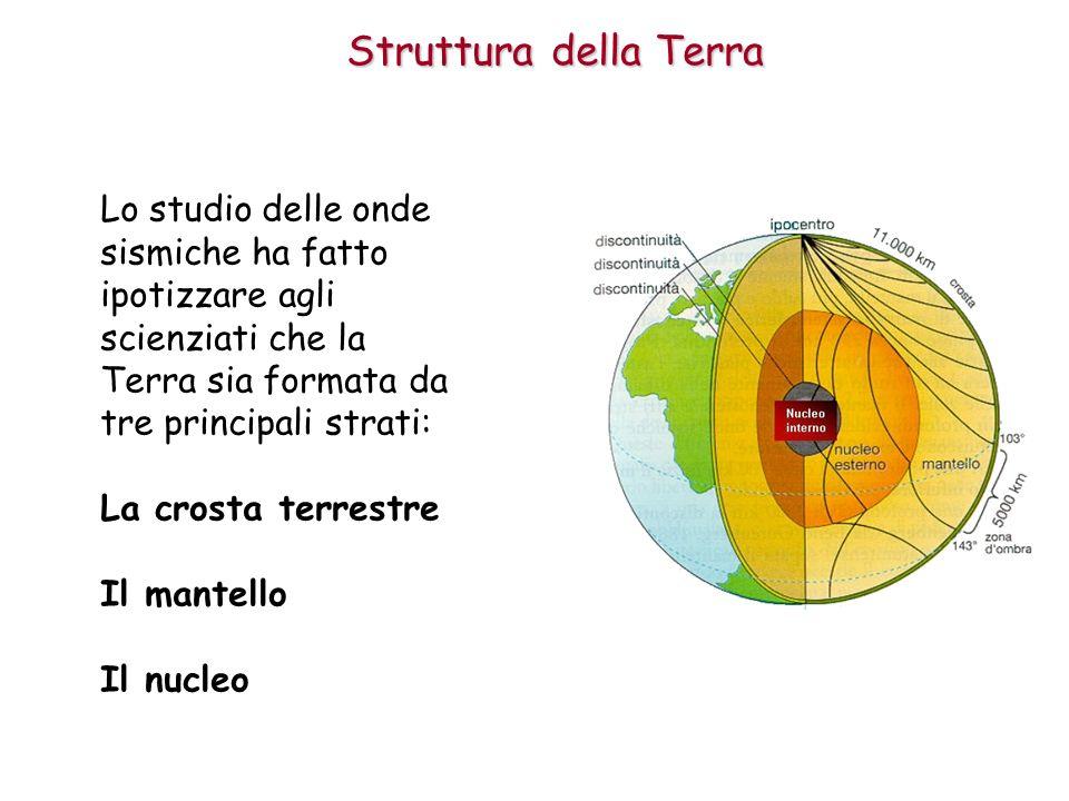 Struttura della Terra La crosta è lo strato più sottile e viene classificata in: crosta oceanica crosta continentale La Crosta
