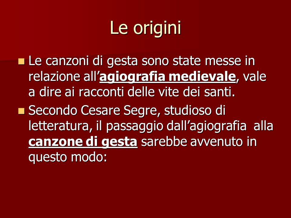 Le origini Le canzoni di gesta sono state messe in relazione allagiografia medievale, vale a dire ai racconti delle vite dei santi. Le canzoni di gest